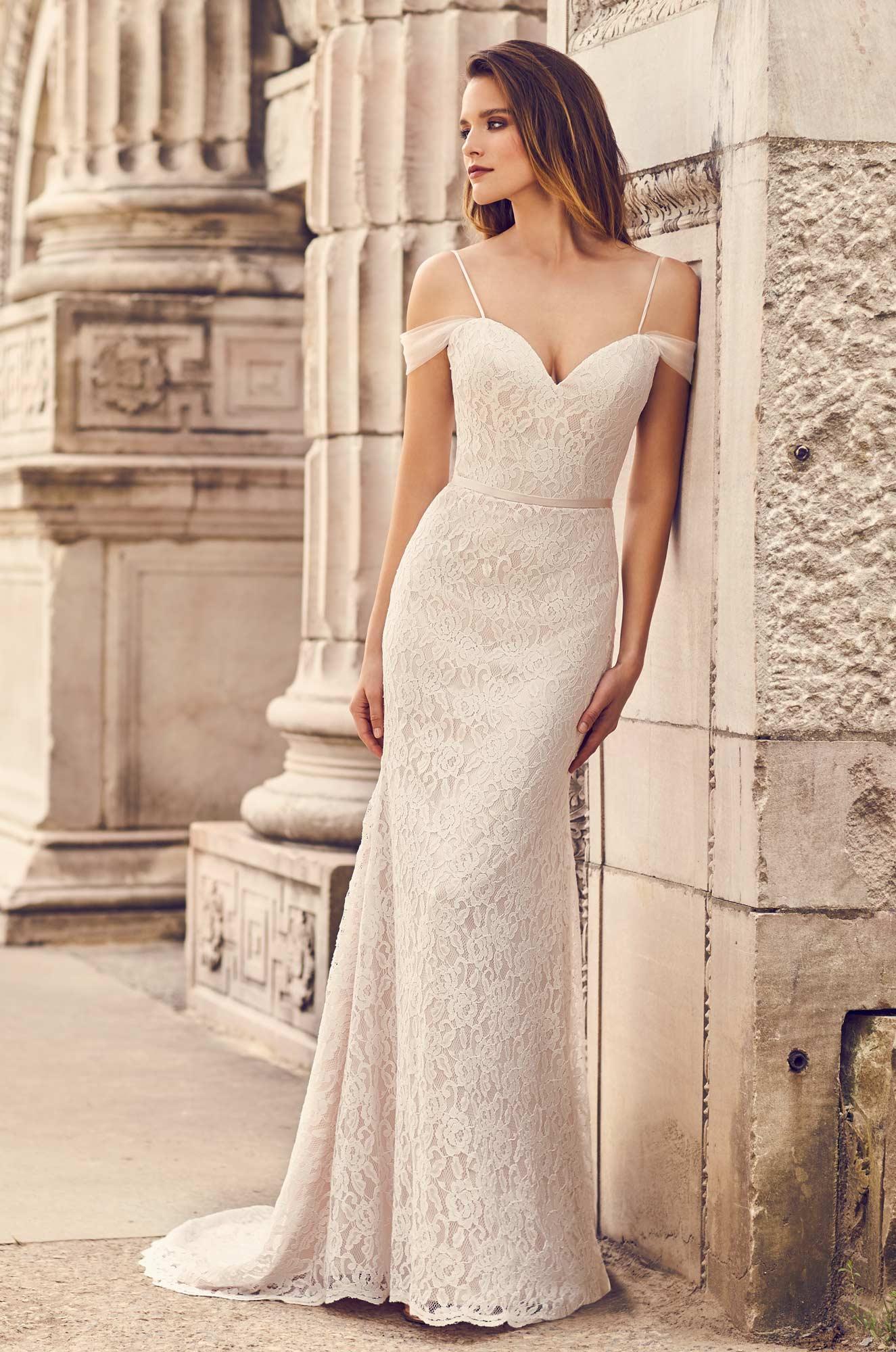 Draped Tulle Sleeve Wedding Dress – Style #2228 | Mikaella Bridal
