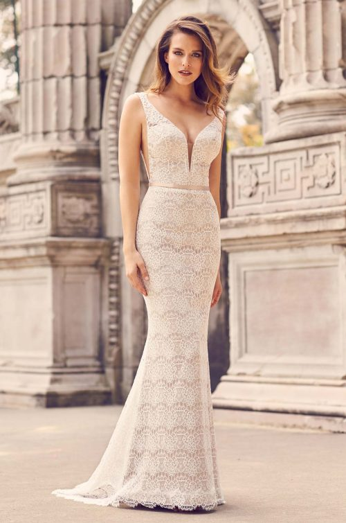 Ornate Lace Sleeveless Wedding Dress - Style #2231 | Mikaella Bridal