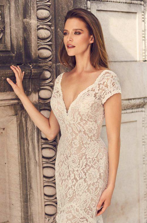 Short Sleeve V-Neckline Wedding Dress - Style #2233   Mikaella Bridal