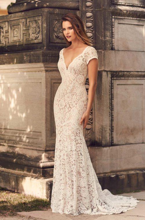 Short Sleeve V-Neckline Wedding Dress - Style #2233 | Mikaella Bridal
