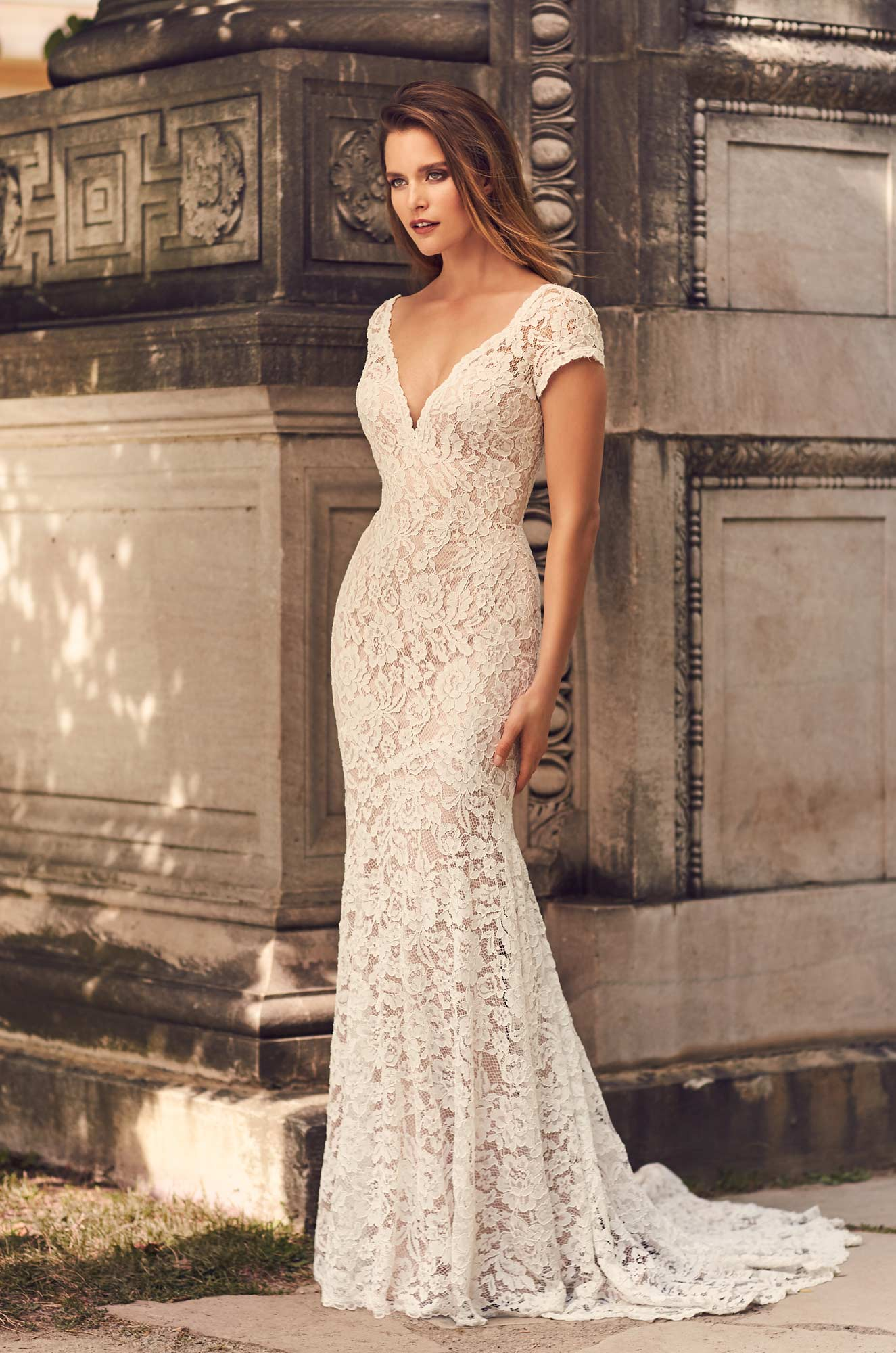 Short Sleeve V-Neckline Wedding Dress – Style #2233 | Mikaella Bridal