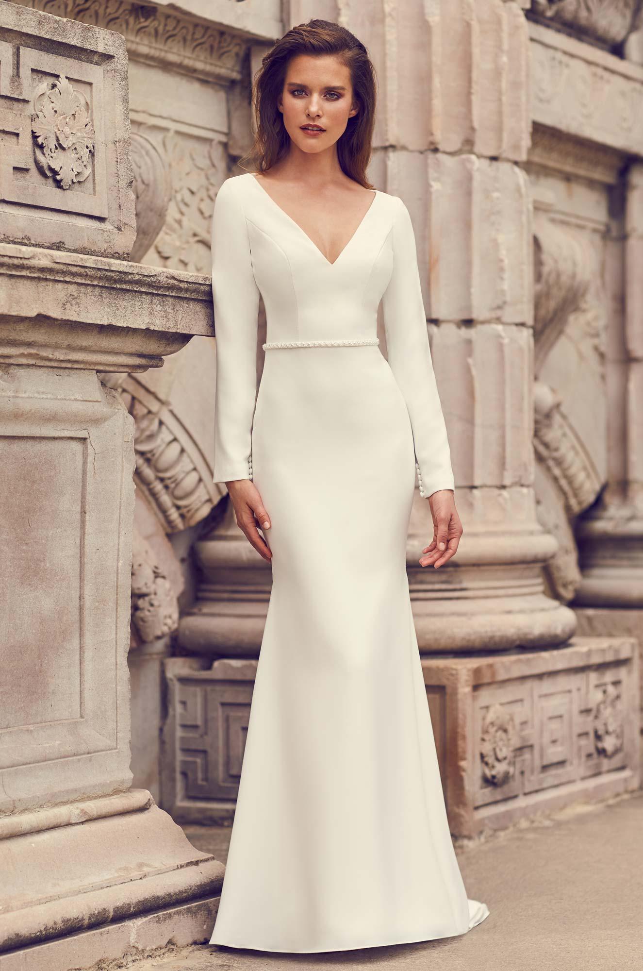 Glamorous Long Sleeve Wedding Dress – Style #2235 | Mikaella Bridal