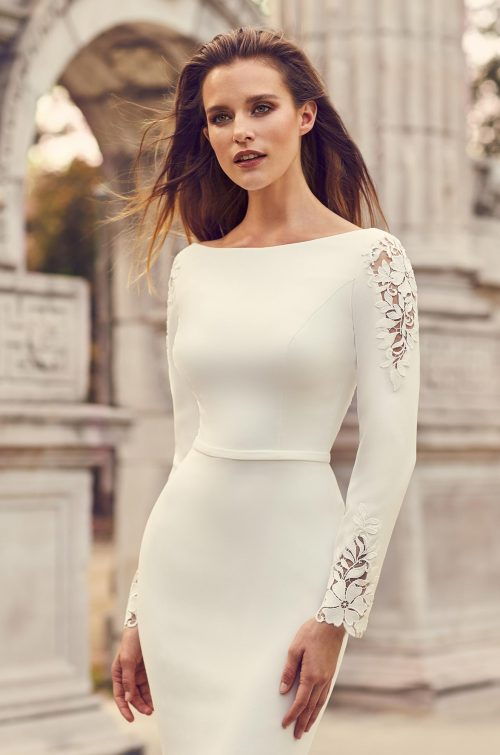 Crêpe Sleeve Lace Detail Wedding Dress - Style #2237 | Mikaella Bridal
