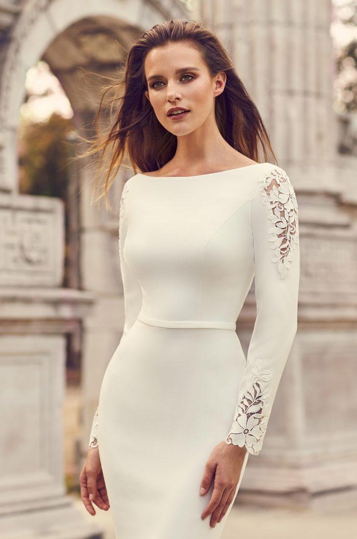 Crêpe Sleeve Lace Detail Wedding Dress - Style #2237 | Mikaella Bridal