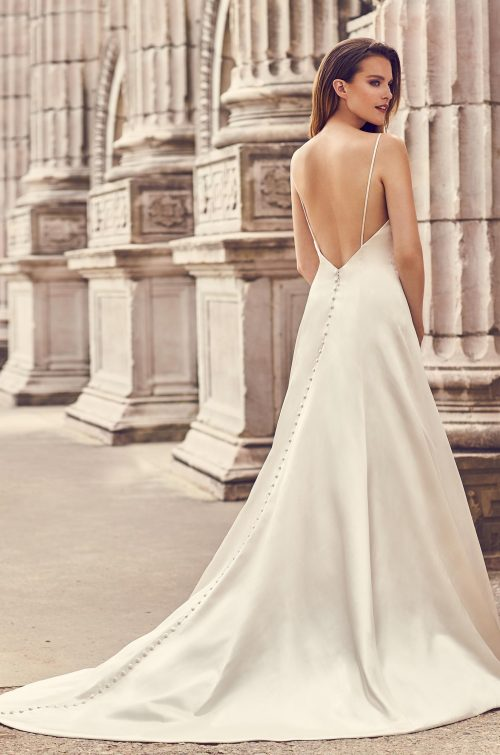 Square Neckline Satin Wedding Dress - Style #2238 | Mikaella Bridal