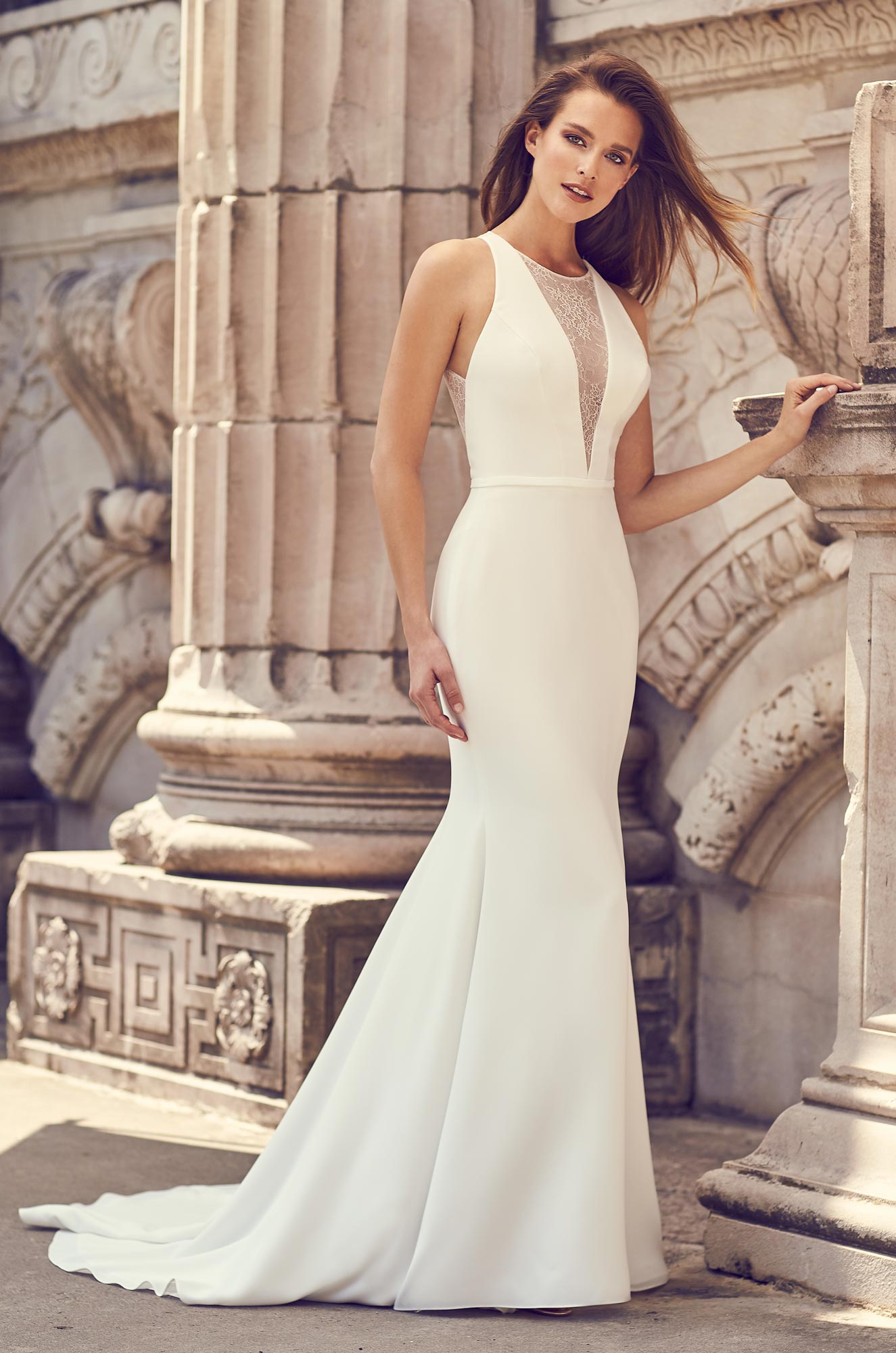 Illusion Halter Neckline Wedding Dress - Style #2239 | Mikaella Bridal
