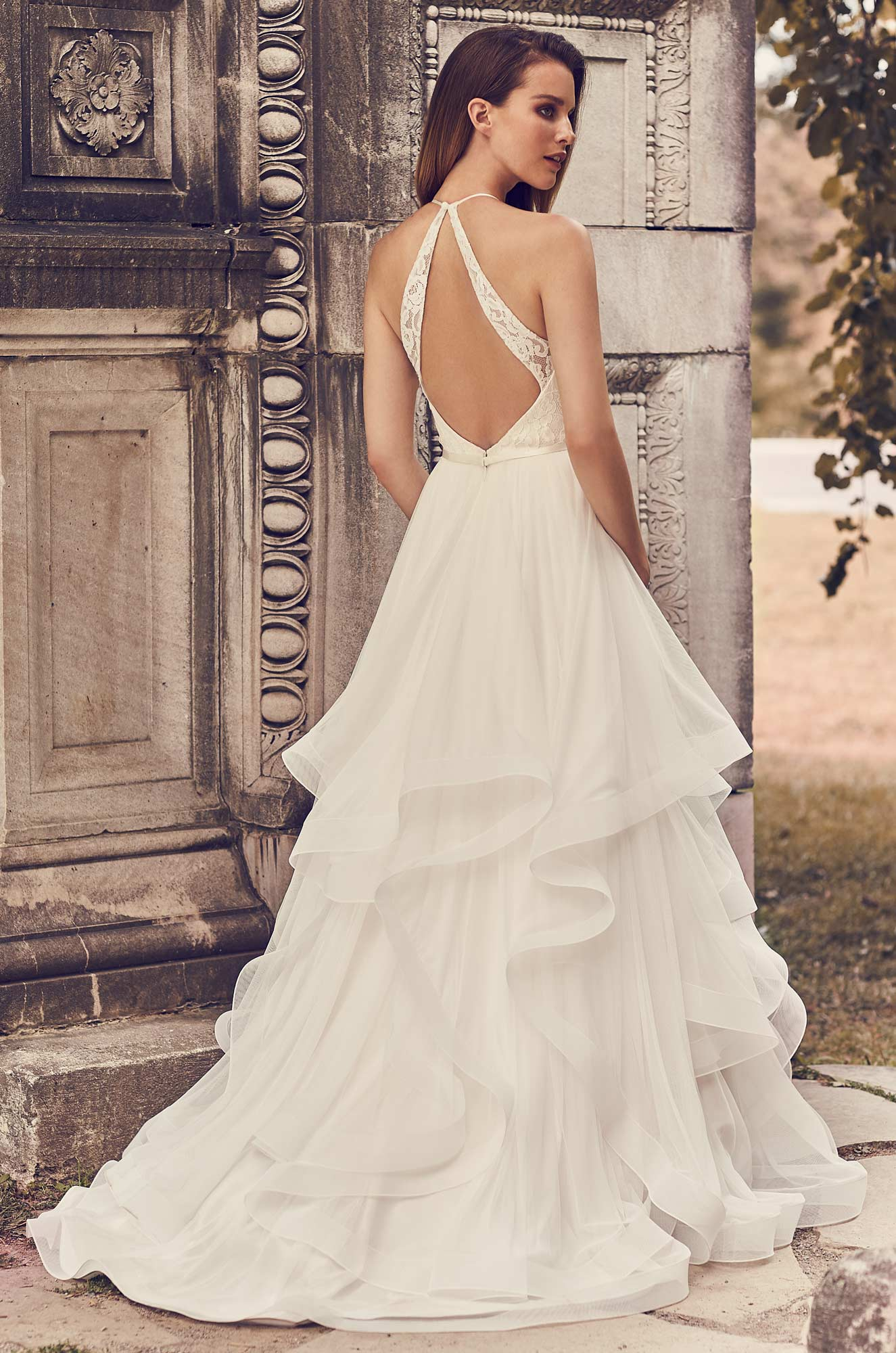 Tulle Skirt Halter Neckline Wedding Dress - Style #2241 | Mikaella Bridal