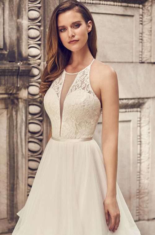 Tulle Skirt Halter Neckline Wedding Dress - Style #2241 | Mikaella Bridal