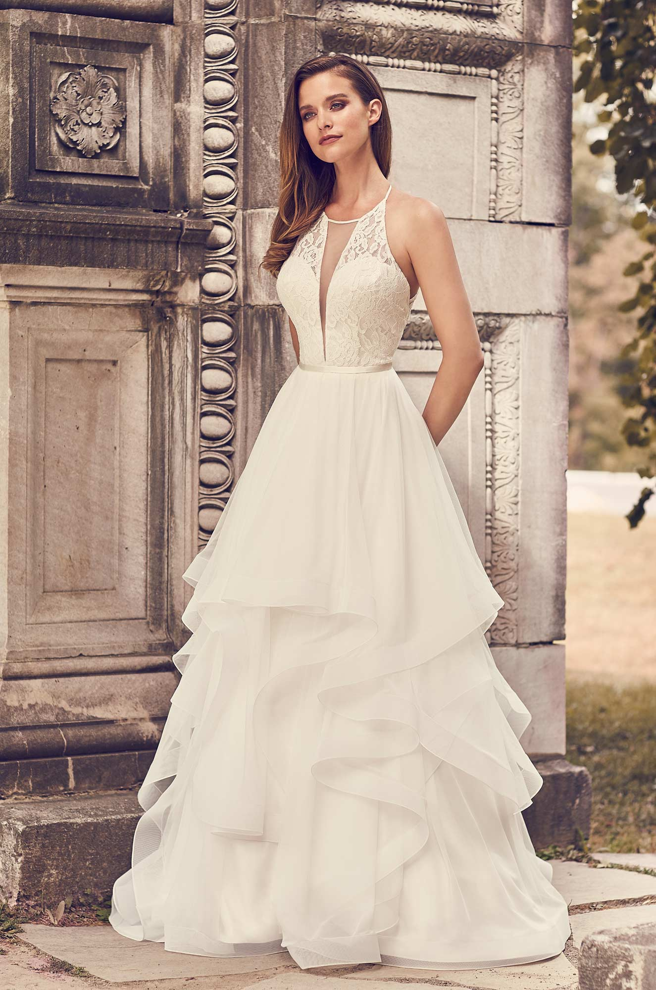 Tulle Skirt Halter Neckline Wedding Dress – Style #2241 | Mikaella Bridal