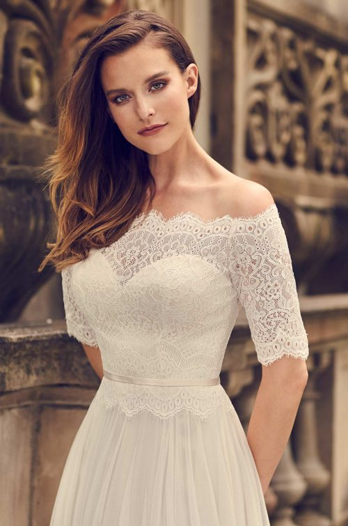Delicate Lace Sleeve Wedding Dress - Style #2242 | Mikaella Bridal