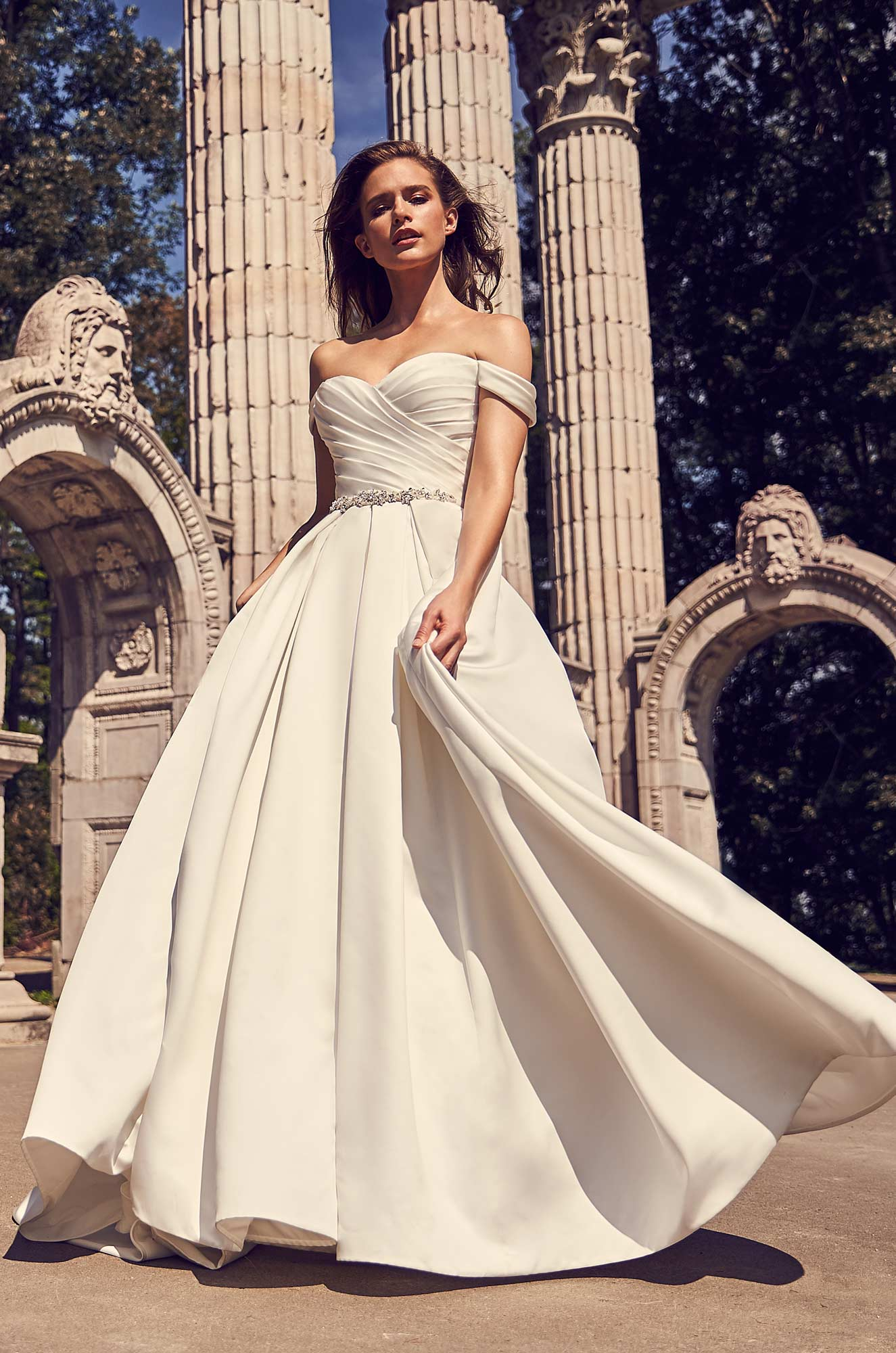 Draped Sleeve Ball Gown Wedding Dress – Style #2243 | Mikaella Bridal