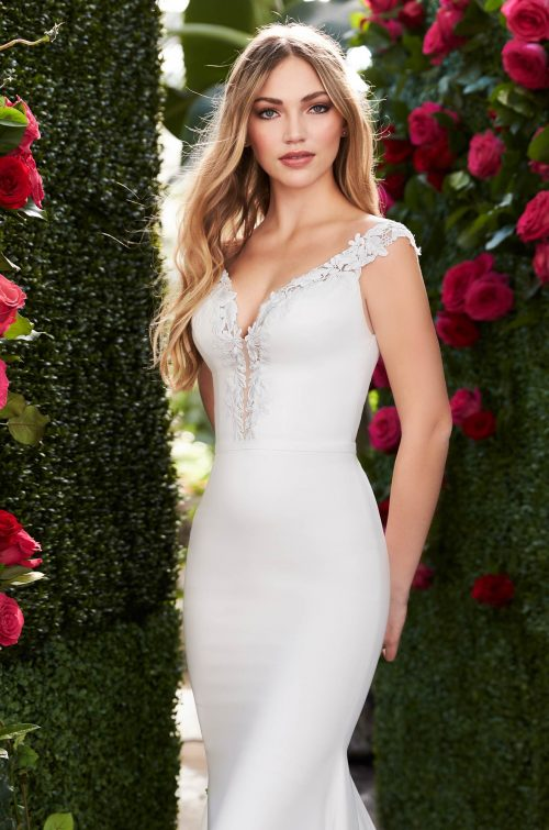 Elegant Plunging Neckline Wedding Dress - Style #2252 | Mikaella Bridal