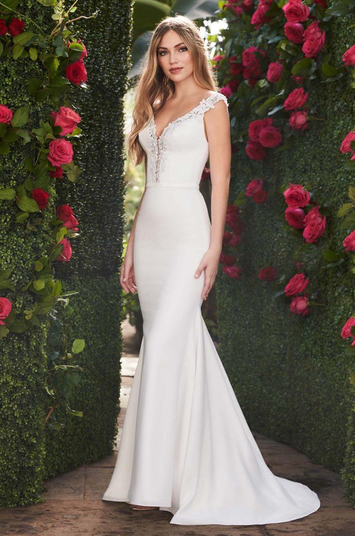 Elegant Plunging Neckline Wedding Dress - Style #2252 | Mikaella Bridal