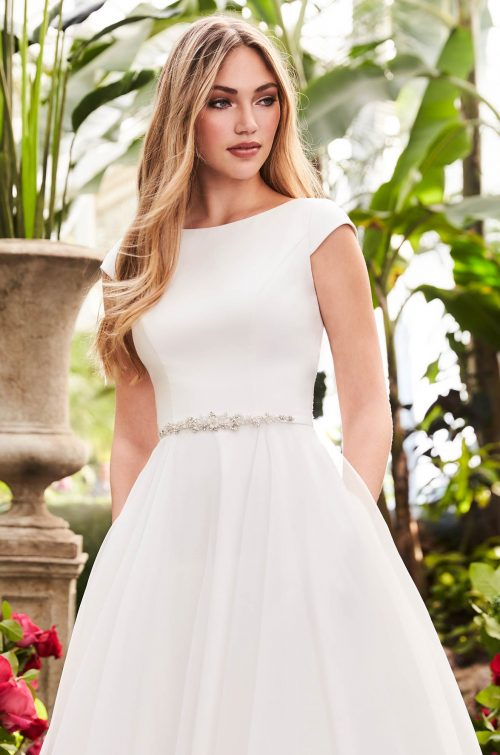 Breathtaking Cap Sleeve Wedding Dress - Style #2253 | Mikaella Bridal