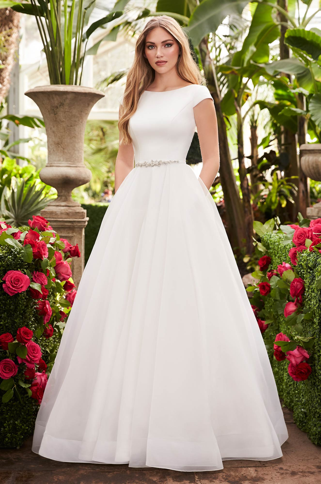 Breathtaking Cap Sleeve Wedding Dress – Style #2253 | Mikaella Bridal