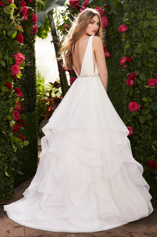 Layered Side Cut Wedding Dress - Style #2255 | Mikaella Bridal