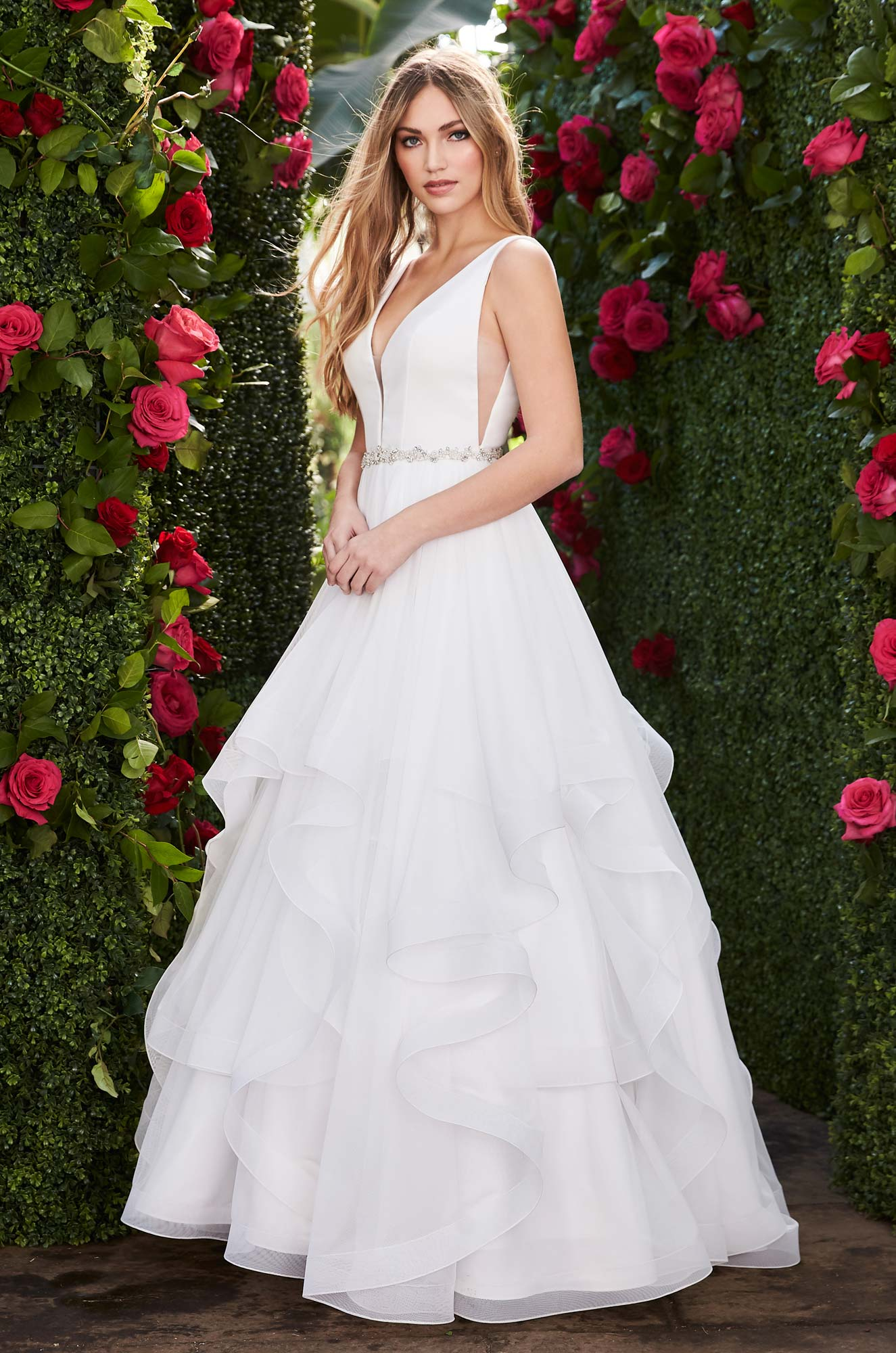 Layered Side Cut Wedding Dress – Style #2255 | Mikaella Bridal