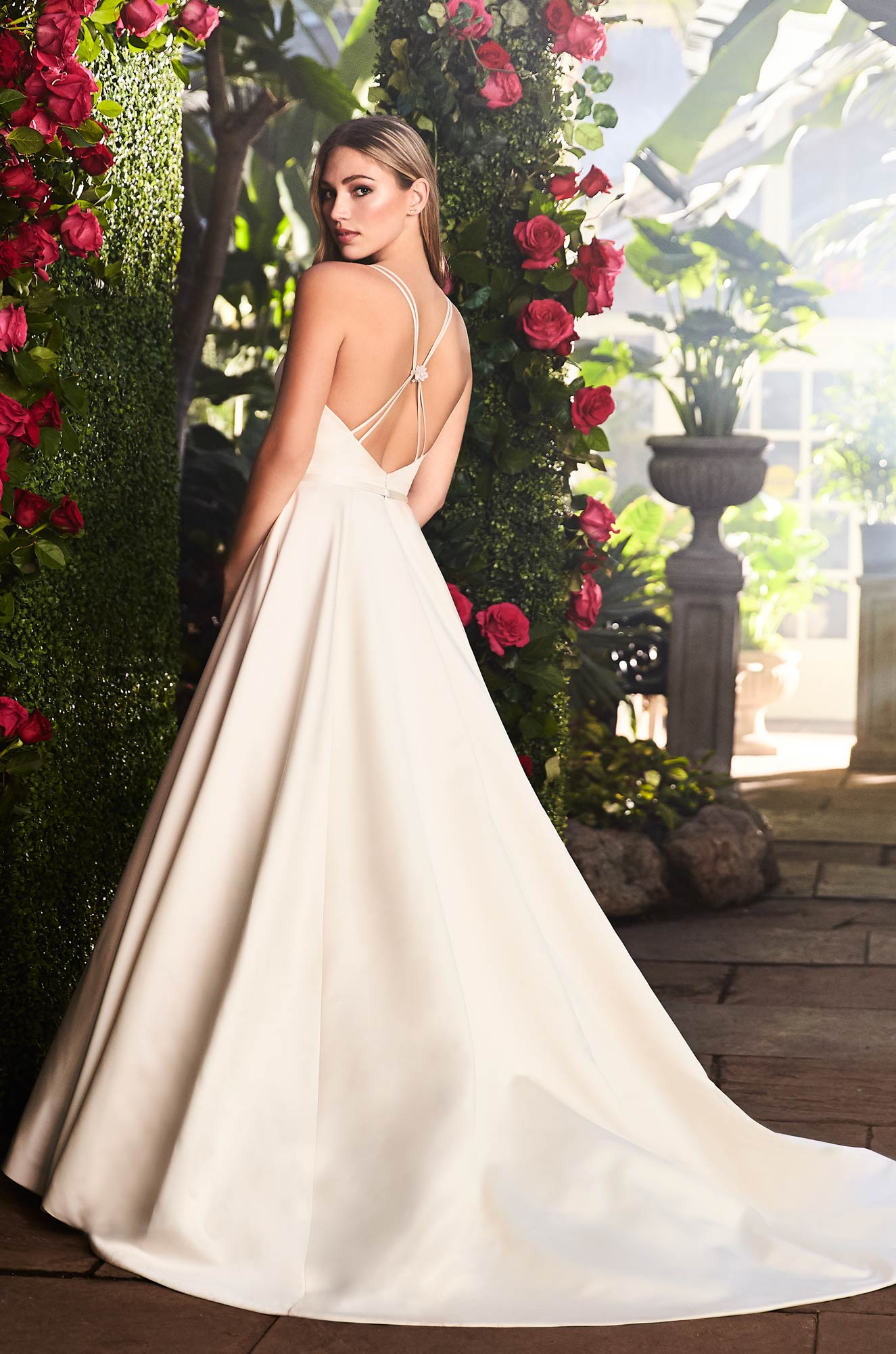 Elegant Satin Ball Gown Wedding Dress – Style #2257 | Mikaella Bridal