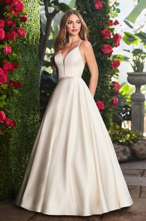 Elegant Satin Ball Gown Wedding Dress - Style #2257 | Mikaella Bridal