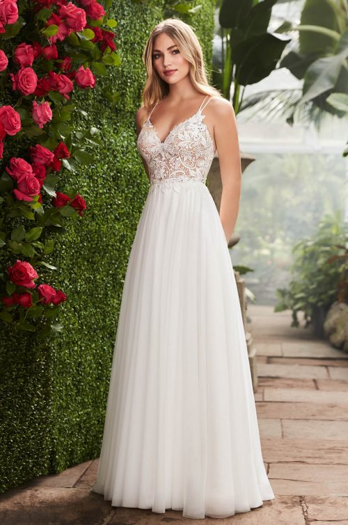 Enchanting Lace Bodice Wedding Dress - Style #2258 | Mikaella Bridal
