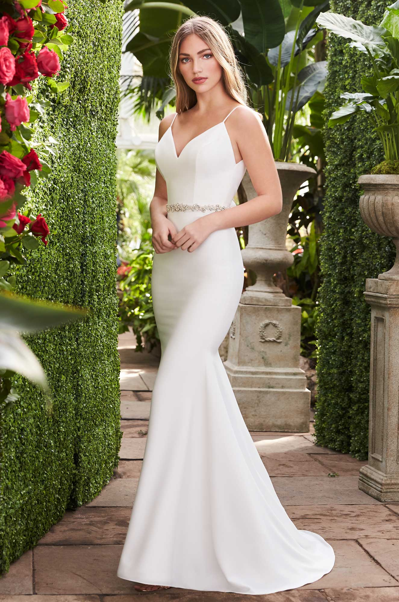 Sleek Crêpe Wedding Dress – Style #2261 | Mikaella Bridal