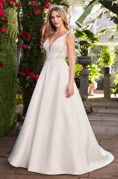Sheer Sides Wedding Dress - Style #2263 | Mikaella Bridal
