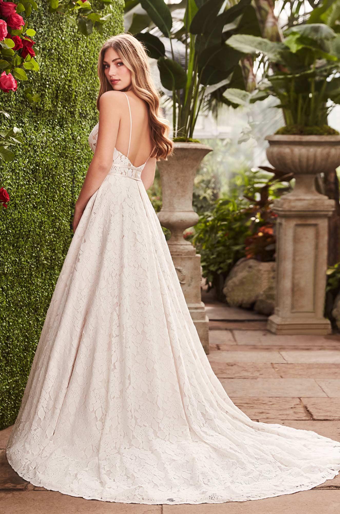Open Back Lace Wedding Dress - Style #2266 | Mikaella Bridal