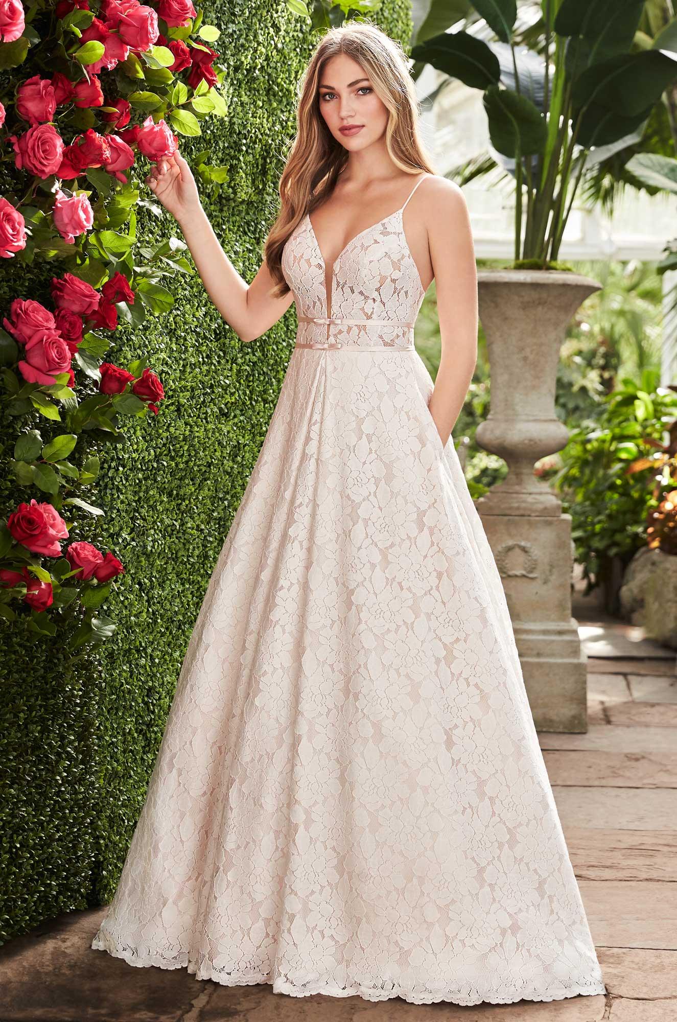 Open Back Lace Wedding Dress – Style #2266 | Mikaella Bridal