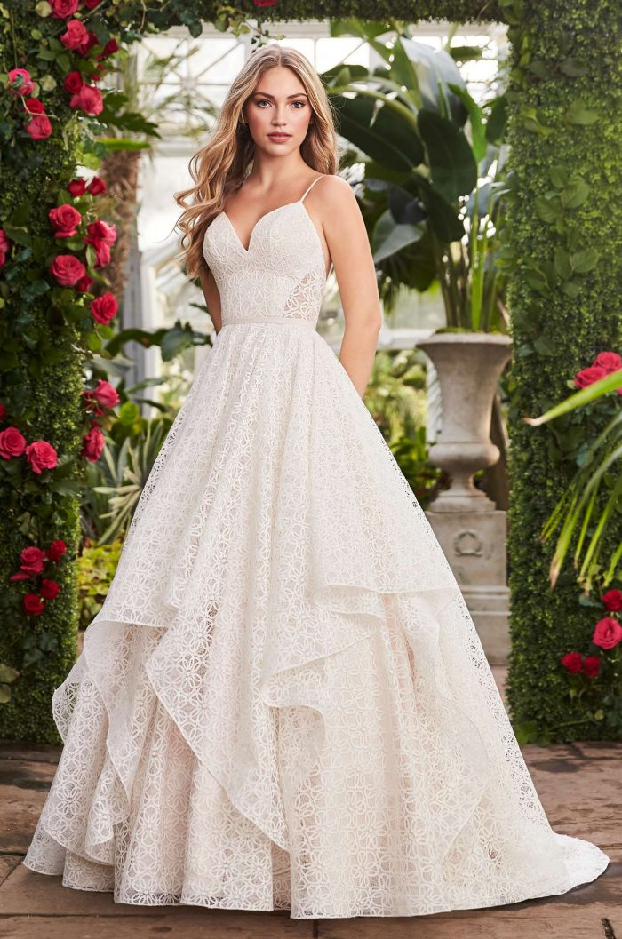 Geometric Lace Wedding Dress - Style #2269 | Mikaella Bridal