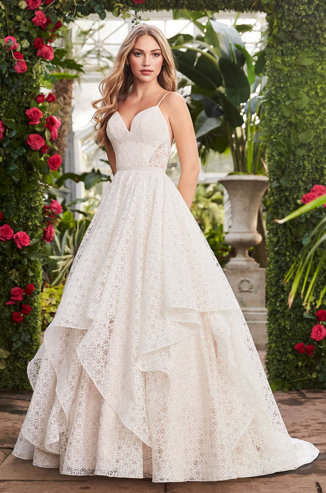 Geometric Lace Wedding Dress Style 2269 Mikaella Bridal