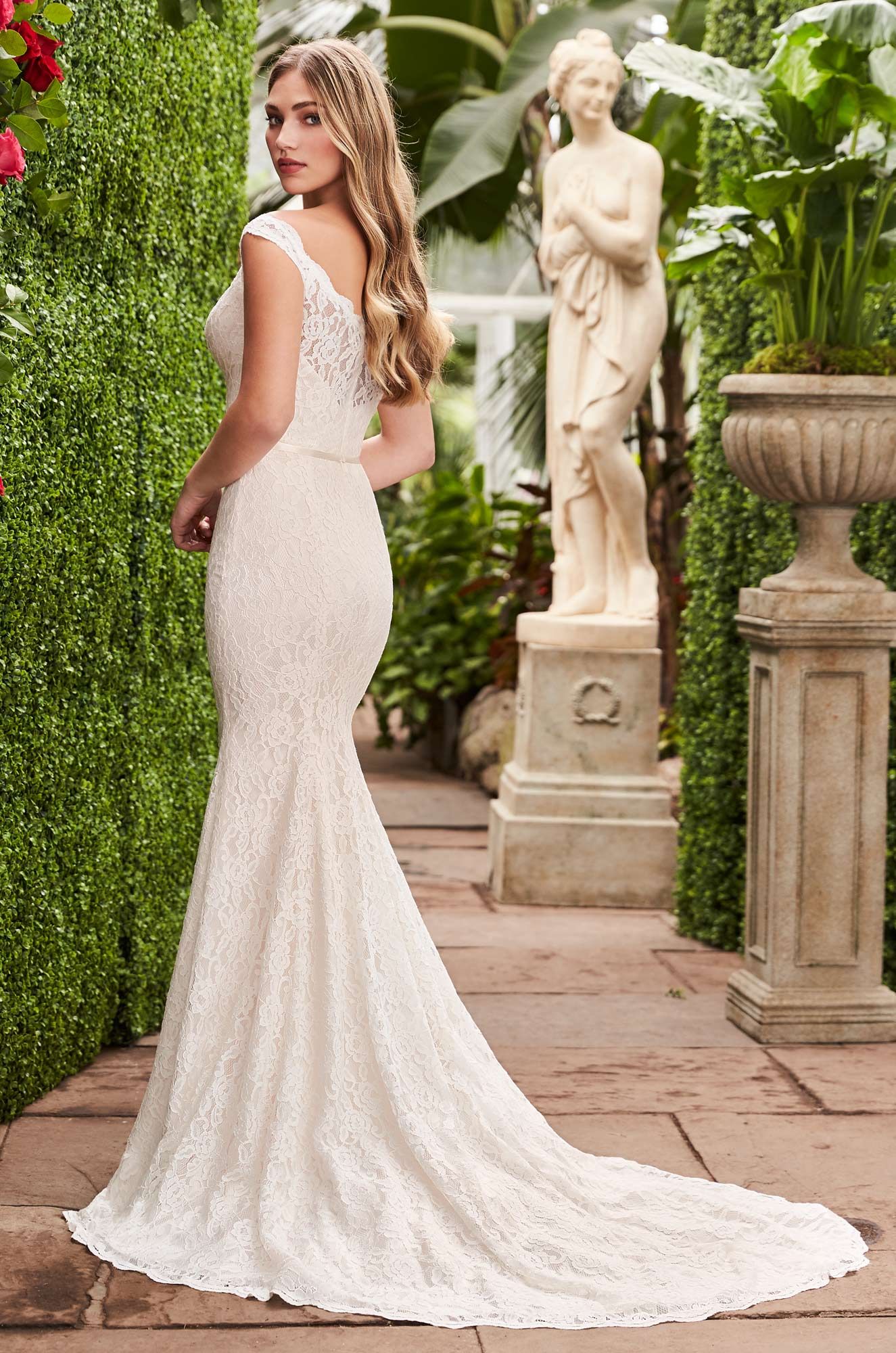 Sheer Lace Back Wedding Dress - Style #2271 | Mikaella Bridal