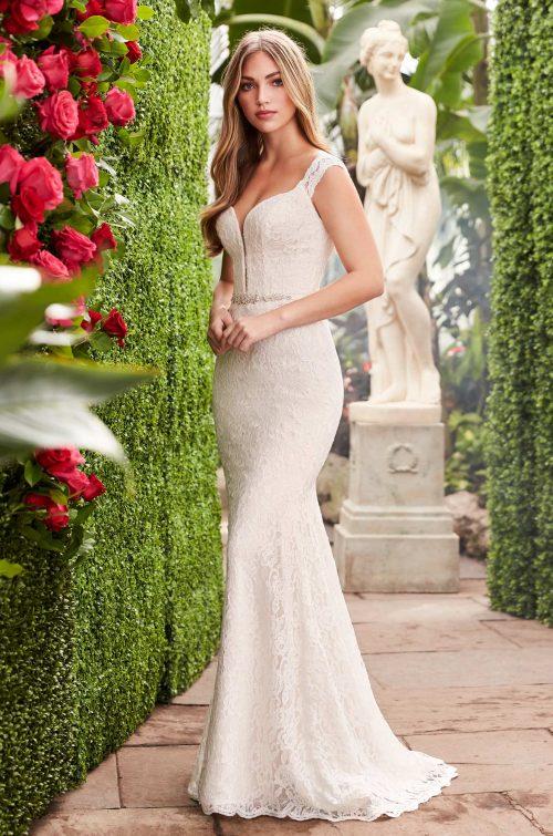 e9060740198 Sheer Lace Back Wedding Dress - Style  2271