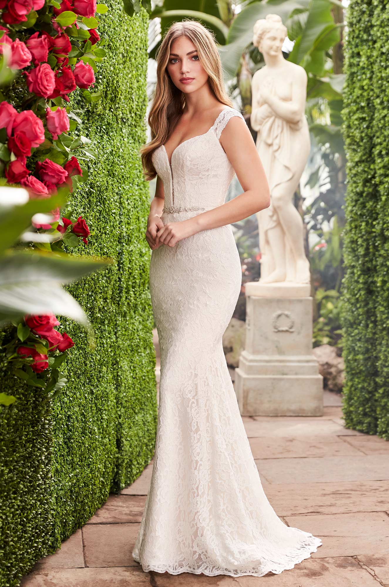 Sheer Lace Back Wedding Dress – Style #2271 | Mikaella Bridal