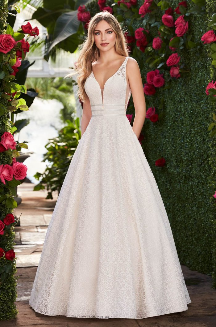 Ball Gown Wedding Dress With Pockets Style 2273 Mikaella Bridal