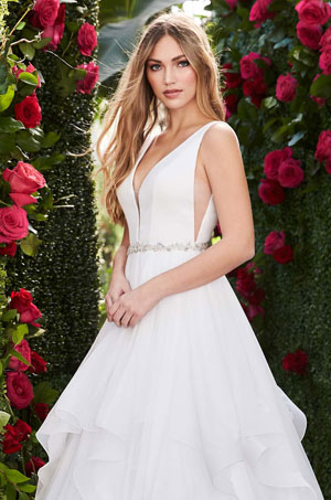 Layered Side Cut Wedding Dress - Style #2255 | Mikaella Bridal
