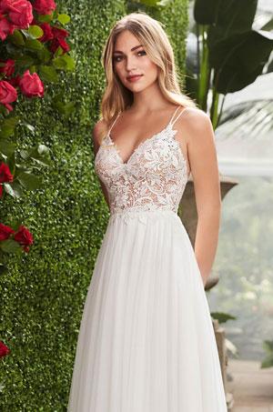 Enchanting Lace Bodice Wedding Dress - Style #2258 | Mikaella Bridal