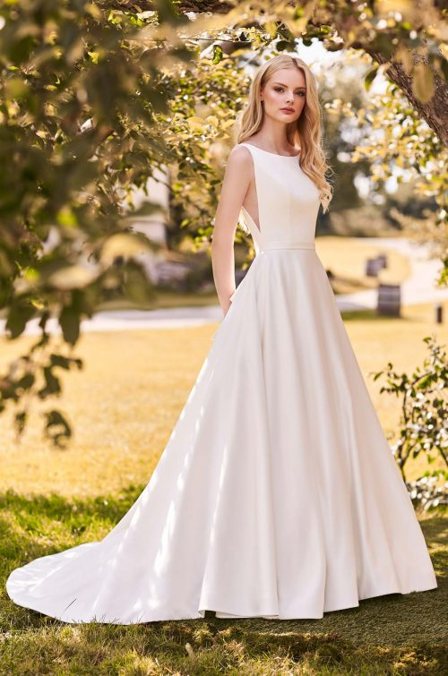 Full Skirt Satin Wedding Dress - Style #2282 | Mikaella Bridal