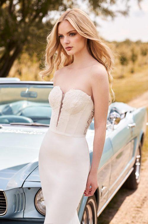 Strapless Beaded Neckline Wedding Dress - Style #2285   Mikaella Bridal