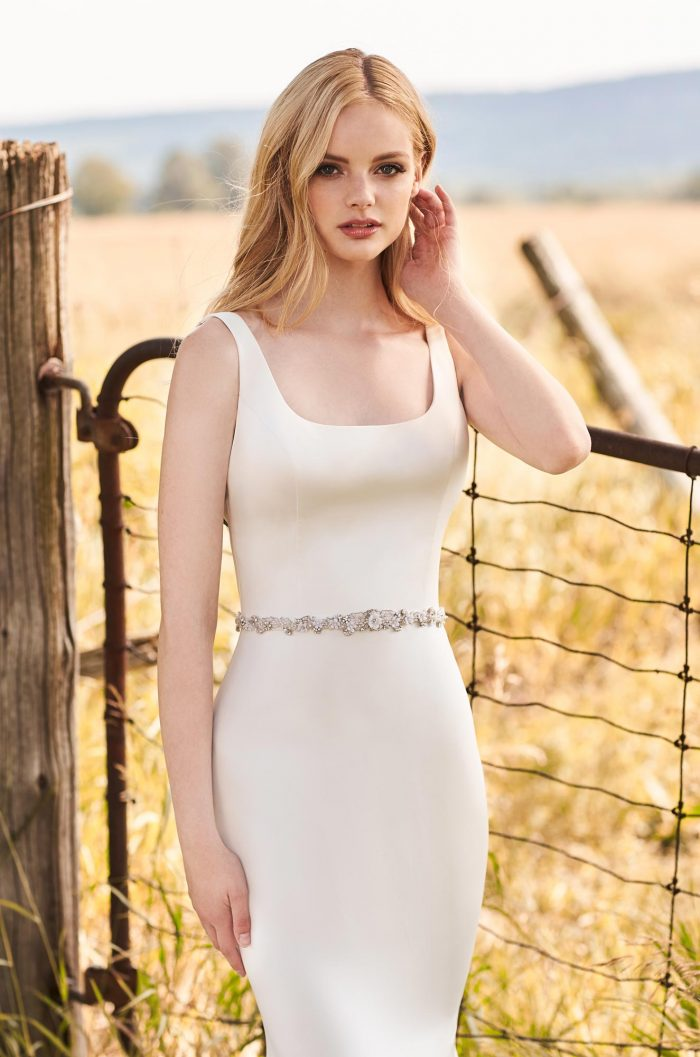 Glimmering Belt Wedding Dress - Style #2290 | Mikaella Bridal