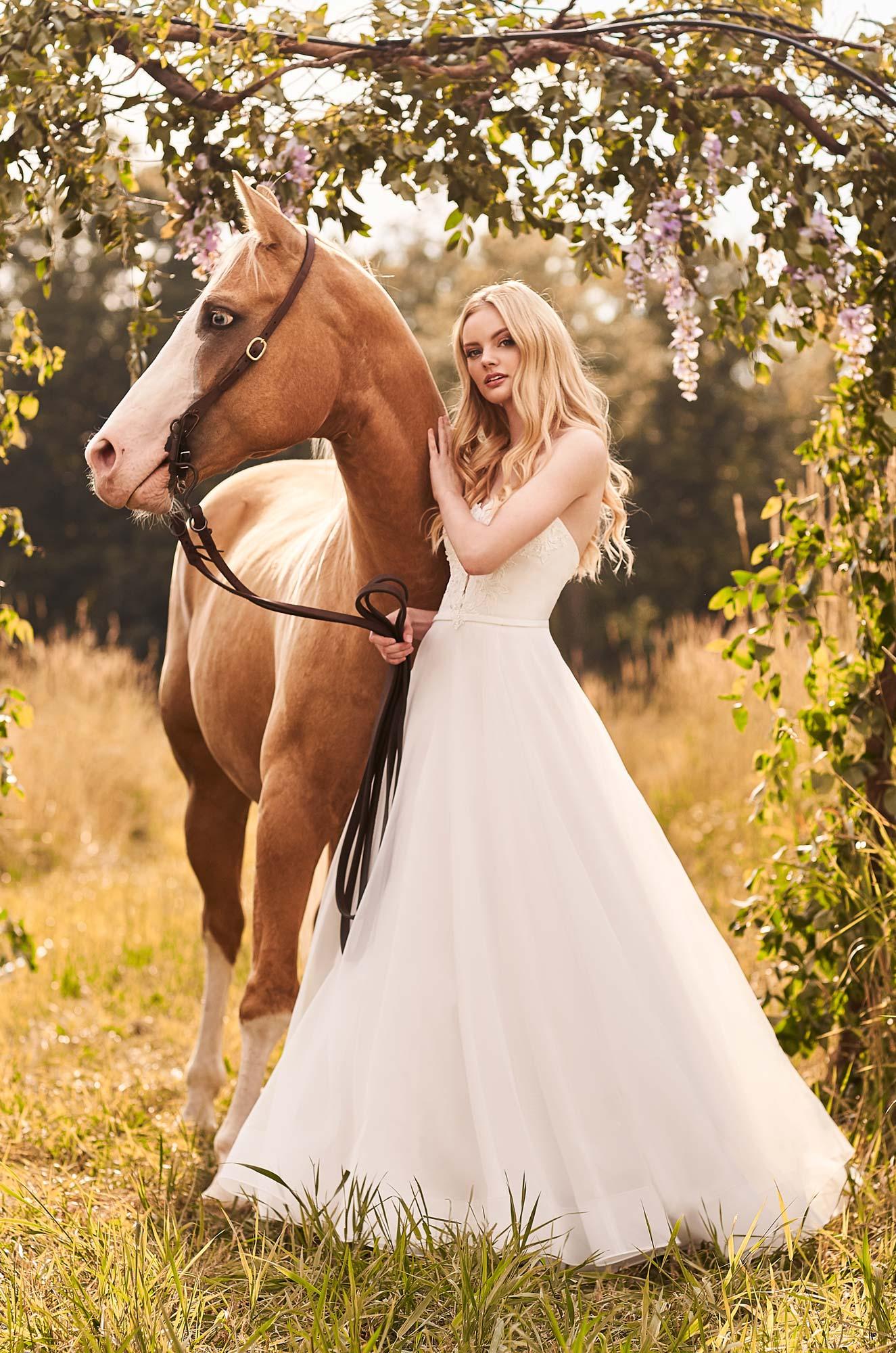 Beaded Strapless Wedding Dress – Style #2291 | Mikaella Bridal