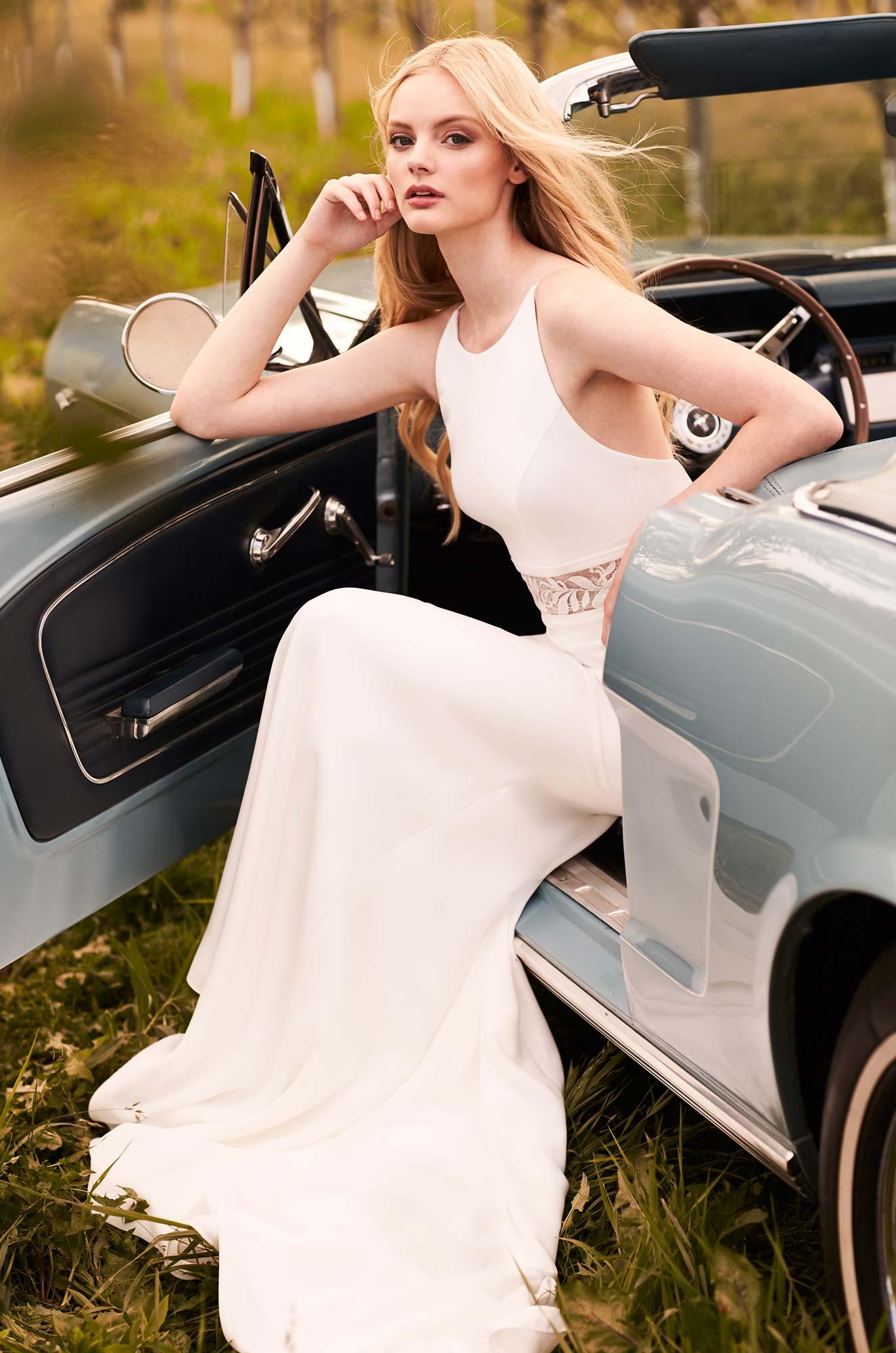 Refined Elegance Crepe Wedding Dress – Style #2295   Mikaella Bridal