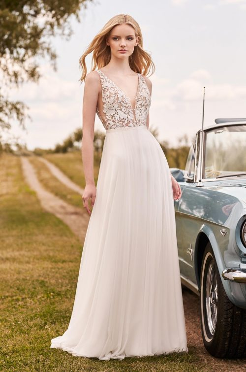 Graceful A-Line Wedding Dress - Style #2296 | Mikaella Bridal