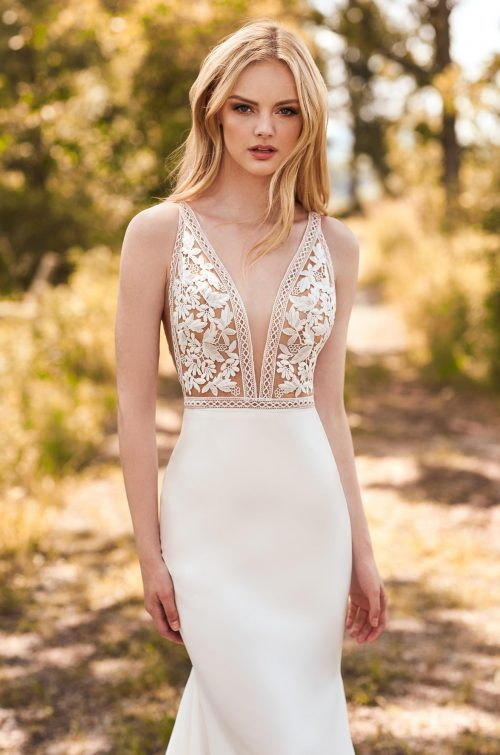Breathtaking Lace Bodice Wedding Dress - Style #2297 | Mikaella Bridal