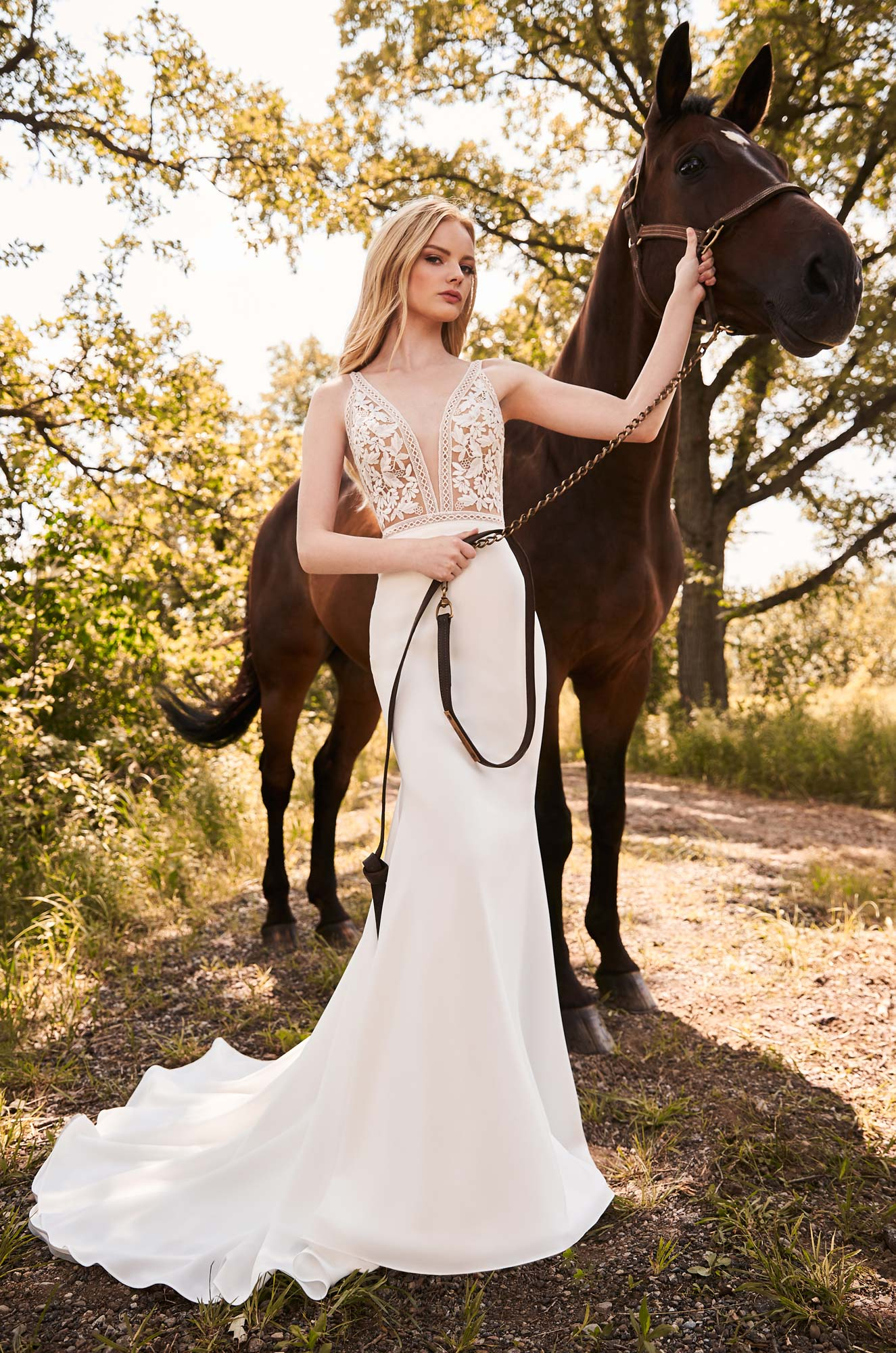 Breathtaking Lace Bodice Wedding Dress – Style #2297 | Mikaella Bridal