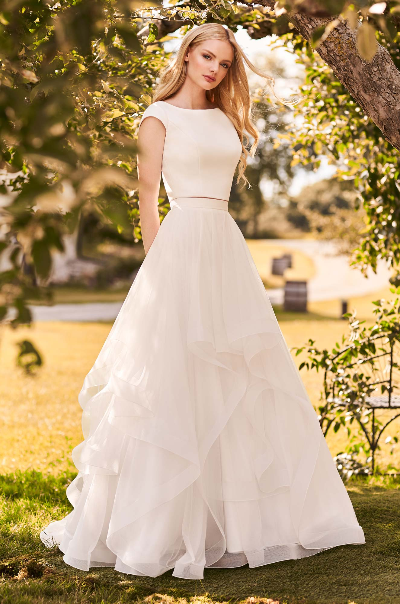 Stylish Two Piece Wedding Dress – Style #2298 | Mikaella Bridal
