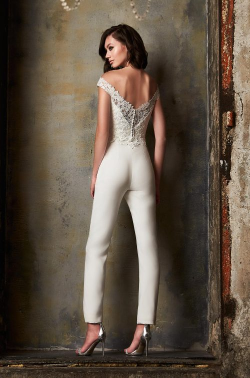 Organza Train Wedding Pantsuit - Style #2304 | Mikaella Bridal