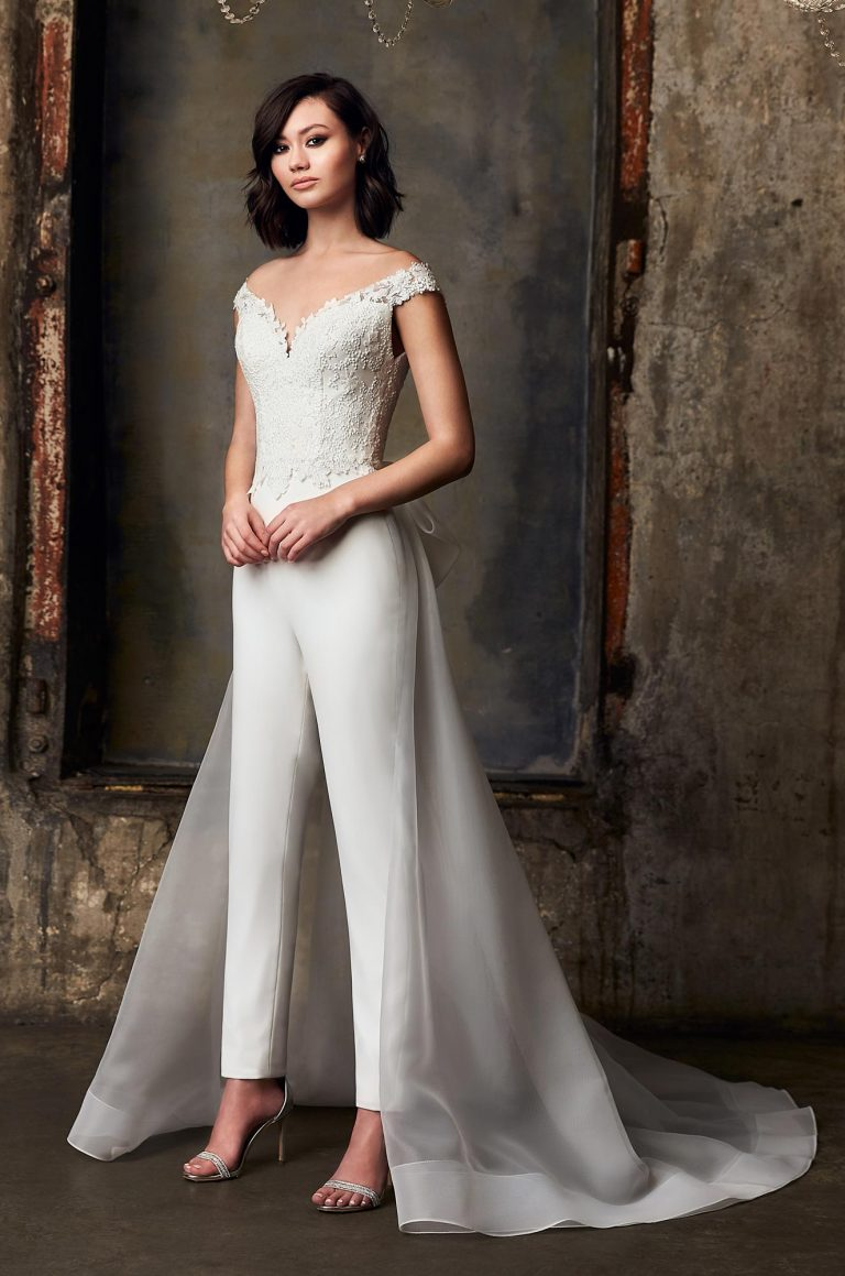 Organza Train Wedding Pantsuit - Style #8  Mikaella Bridal