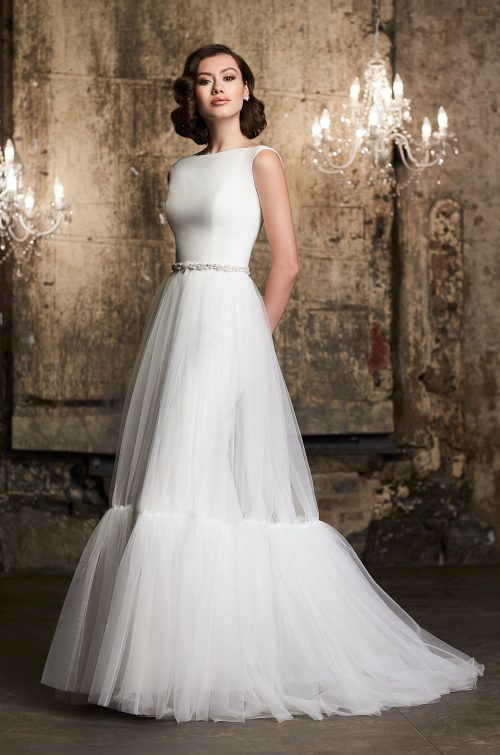 Tulle Overskirt Wedding Dress - Style #2305 | Mikaella Bridal