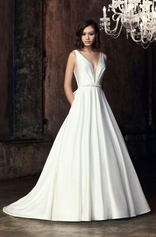 Satin Plunging Neckline Wedding Dress - Style #2306 | Mikaella Bridal