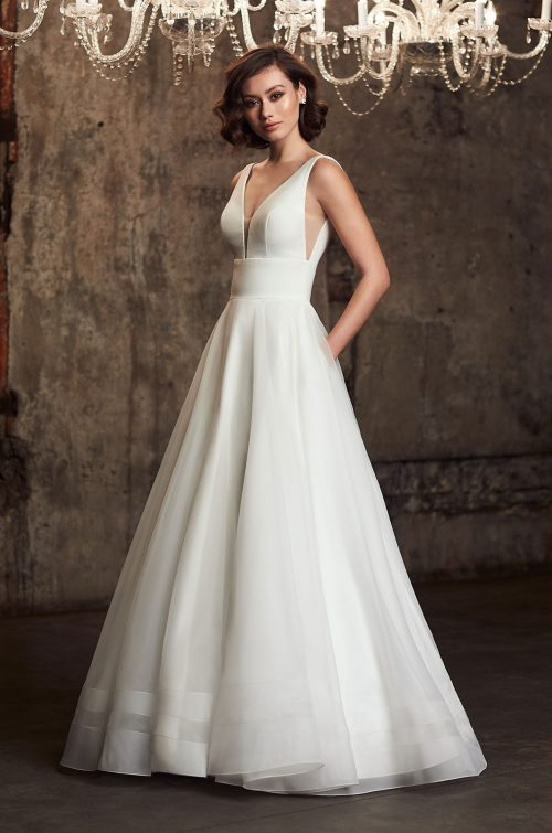 Embroidered Message Wedding Dress - Style #2310 | Mikaella Bridal